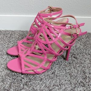 Guess Pink Strappy Cage Heels Size 7